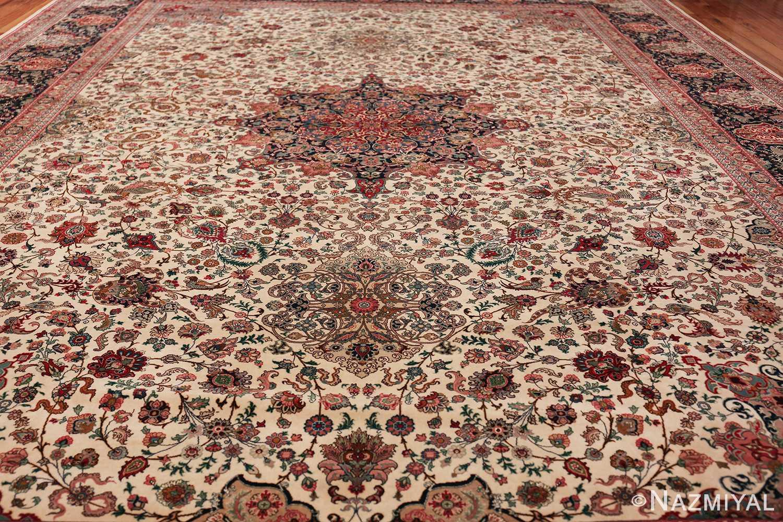 fine silk and wool large vintage tabriz persian rug 60016 field Nazmiyal