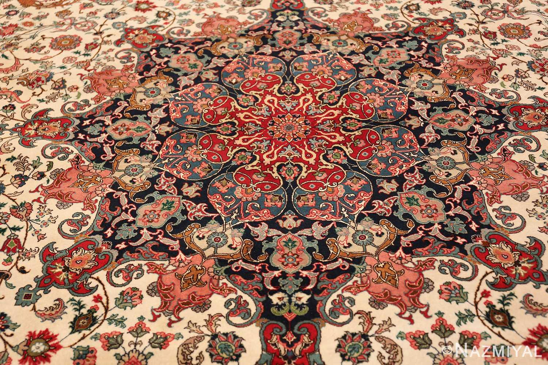 fine silk and wool large vintage tabriz persian rug 60016 medallion Nazmiyal