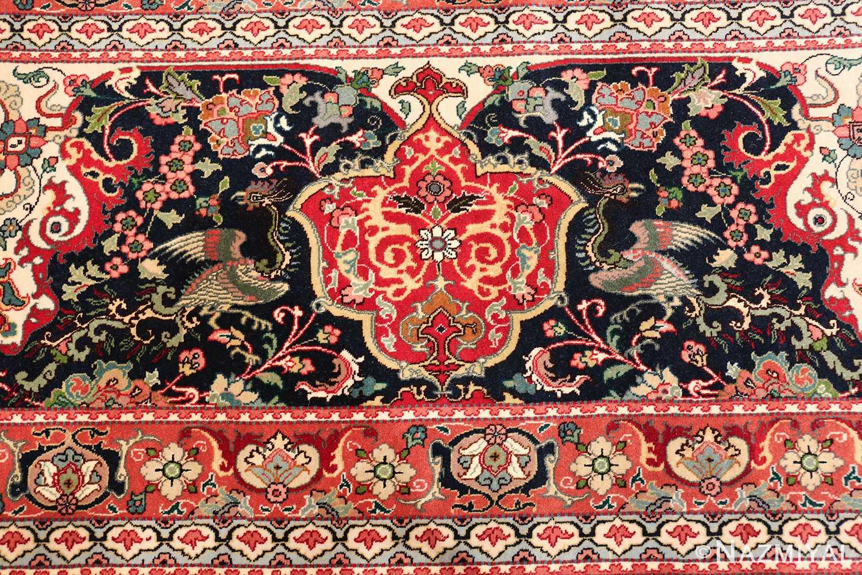 fine silk and wool large vintage tabriz persian rug 60016 peacock Nazmiyal