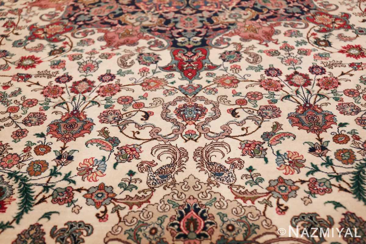 fine silk and wool large vintage tabriz persian rug 60016 scrolls Nazmiyal