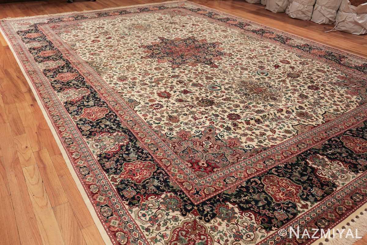 fine silk and wool large vintage tabriz persian rug 60016 side Nazmiyal
