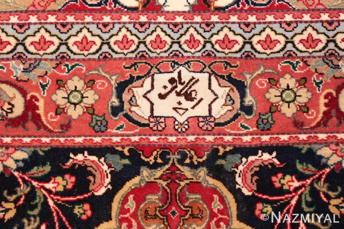 fine silk and wool large vintage tabriz persian rug 60016 signature Nazmiyal