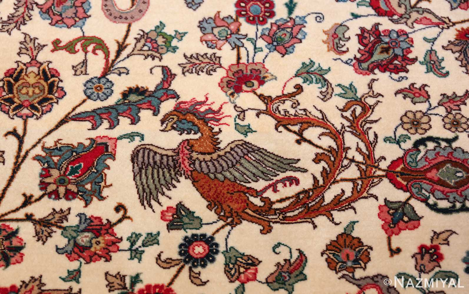 fine silk and wool large vintage tabriz persian rug 60016 simorgh Nazmiyal