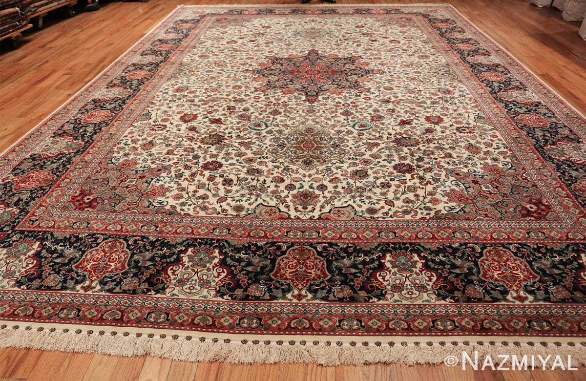 fine silk and wool large vintage tabriz persian rug 60016 whole Nazmiyal