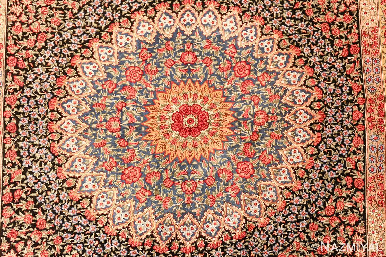floral silk vintage qum persian rug 49622 center Nazmiyal