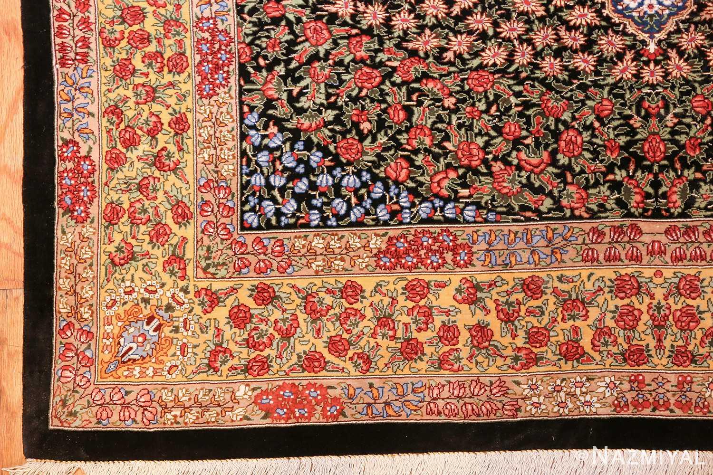 floral silk vintage qum persian rug 49622 corner Nazmiyal