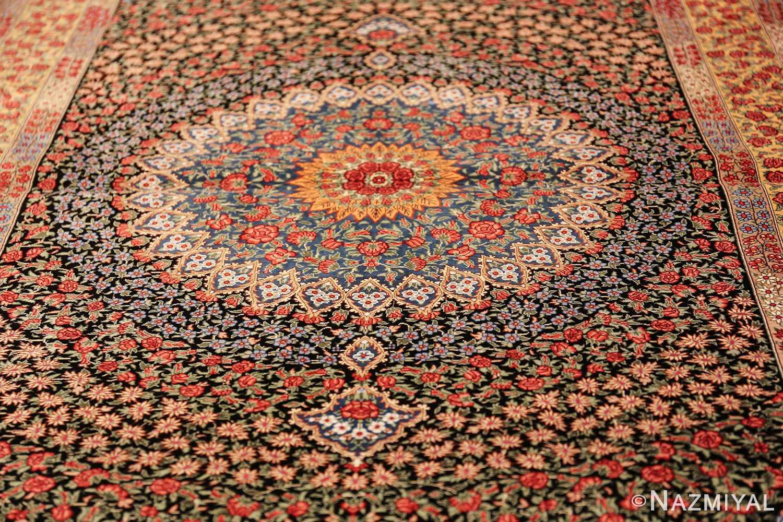 floral silk vintage qum persian rug 49622 field Nazmiyal