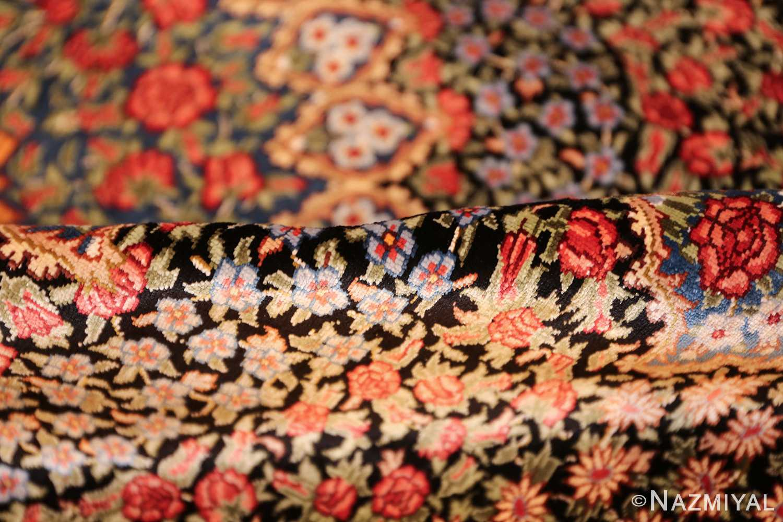 floral silk vintage qum persian rug 49622 pile Nazmiyal