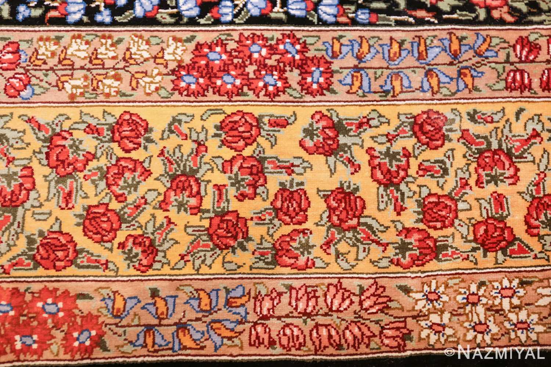 floral silk vintage qum persian rug 49622 red Nazmiyal