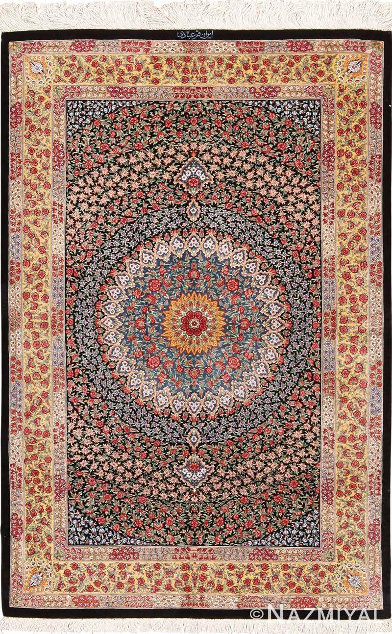 Fine Radiant Floral Vintage Silk Persian Qum Rug 49622 by Nazmiyal