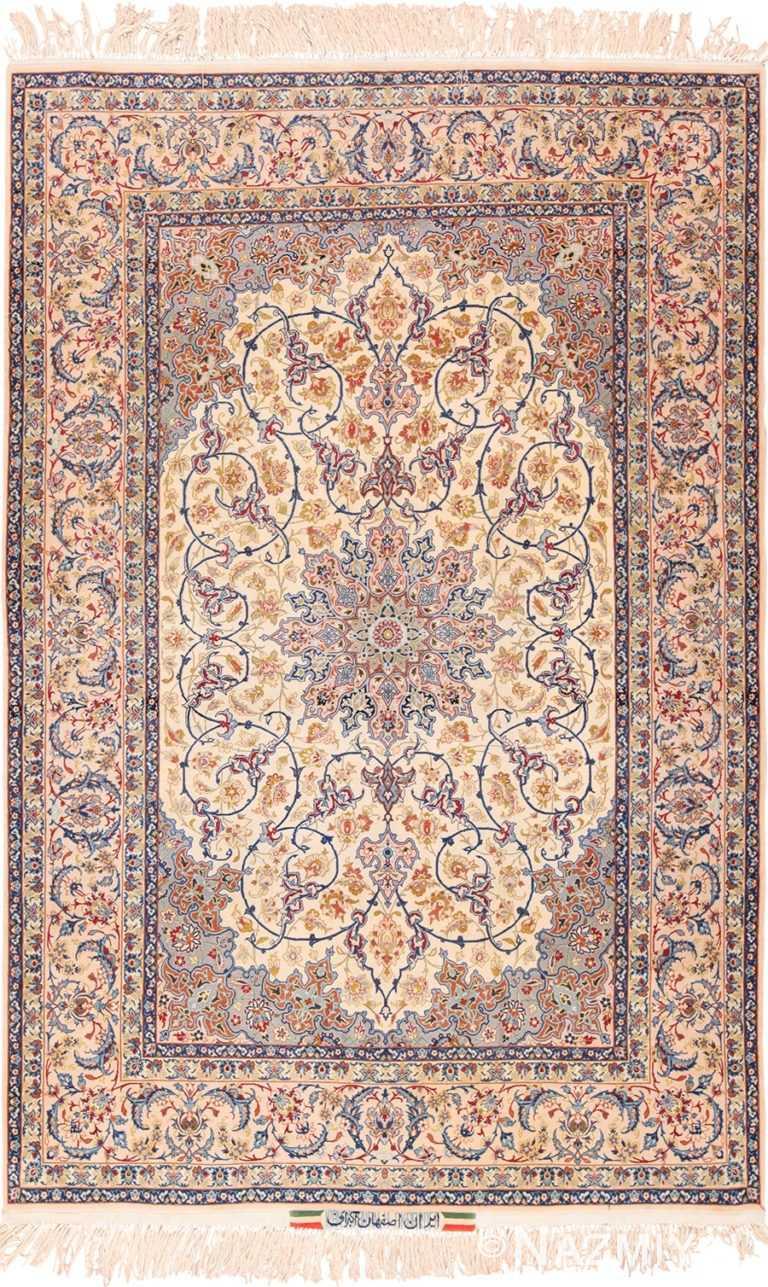Ivory Background Vintage Persian Isfahan Rug 49599 by Nazmiyal