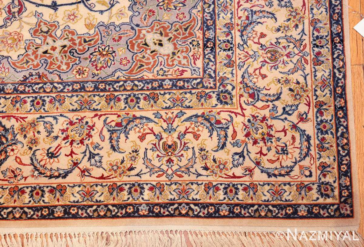 ivory background vintage isfahan persian rug 49599 corner Nazmiyal
