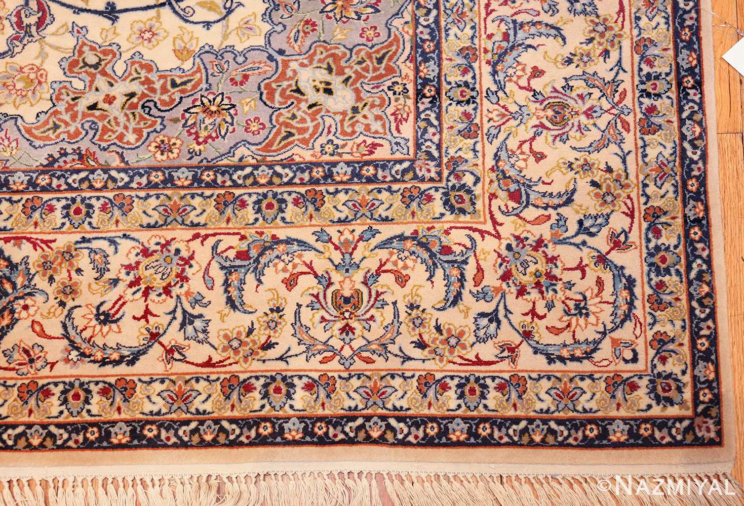 ivory background vintage isfahan persian rug 49599 corner Nazmiyal