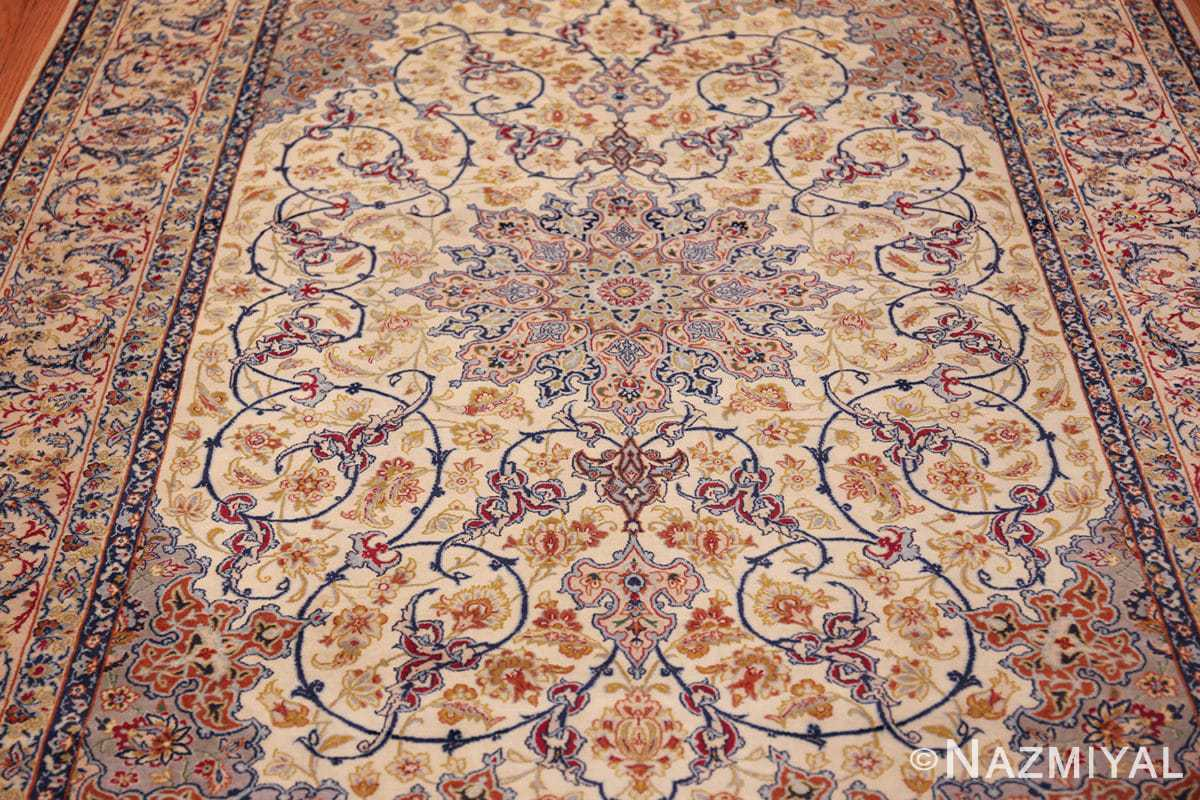 ivory background vintage isfahan persian rug 49599 field Nazmiyal