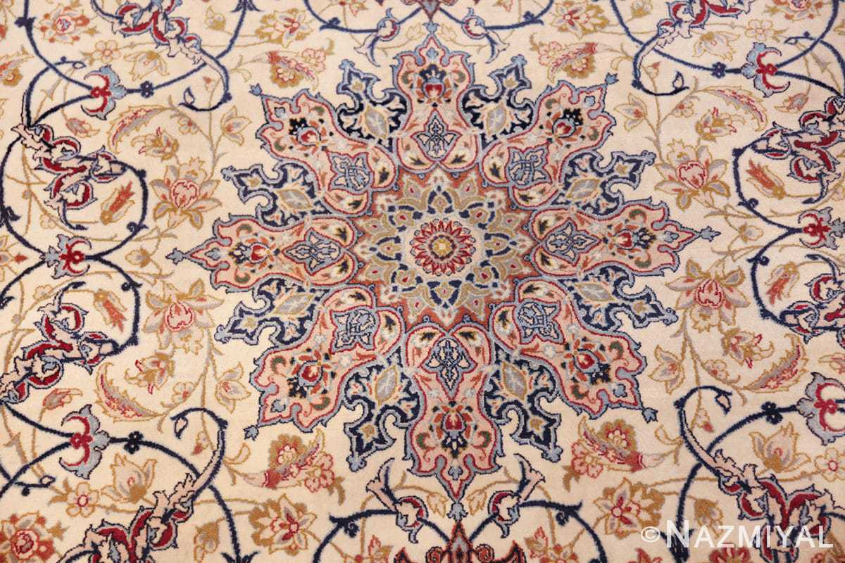 ivory background vintage isfahan persian rug 49599 medallion Nazmiyal