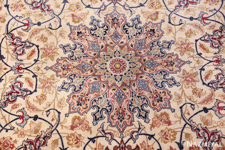 ivory background vintage isfahan persian rug 49599 medallion Nazmiyal