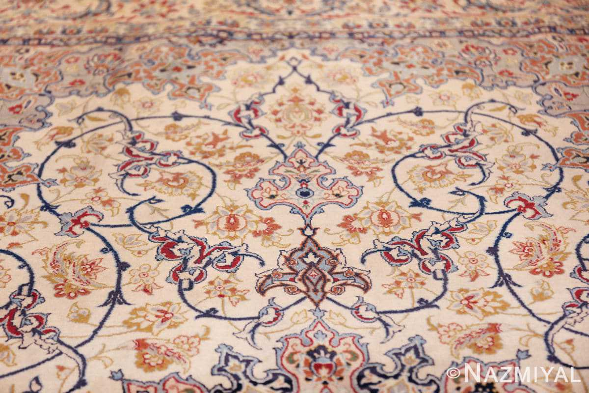 ivory background vintage isfahan persian rug 49599 tiara Nazmiyal