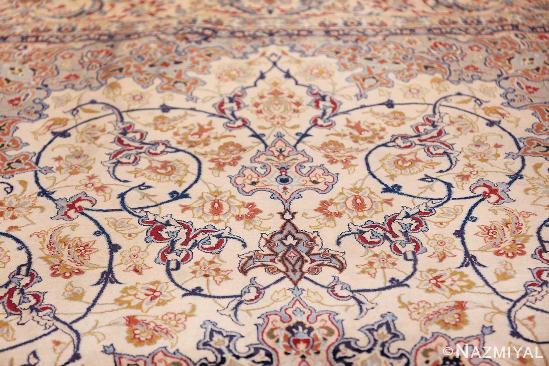 ivory background vintage isfahan persian rug 49599 tiara Nazmiyal