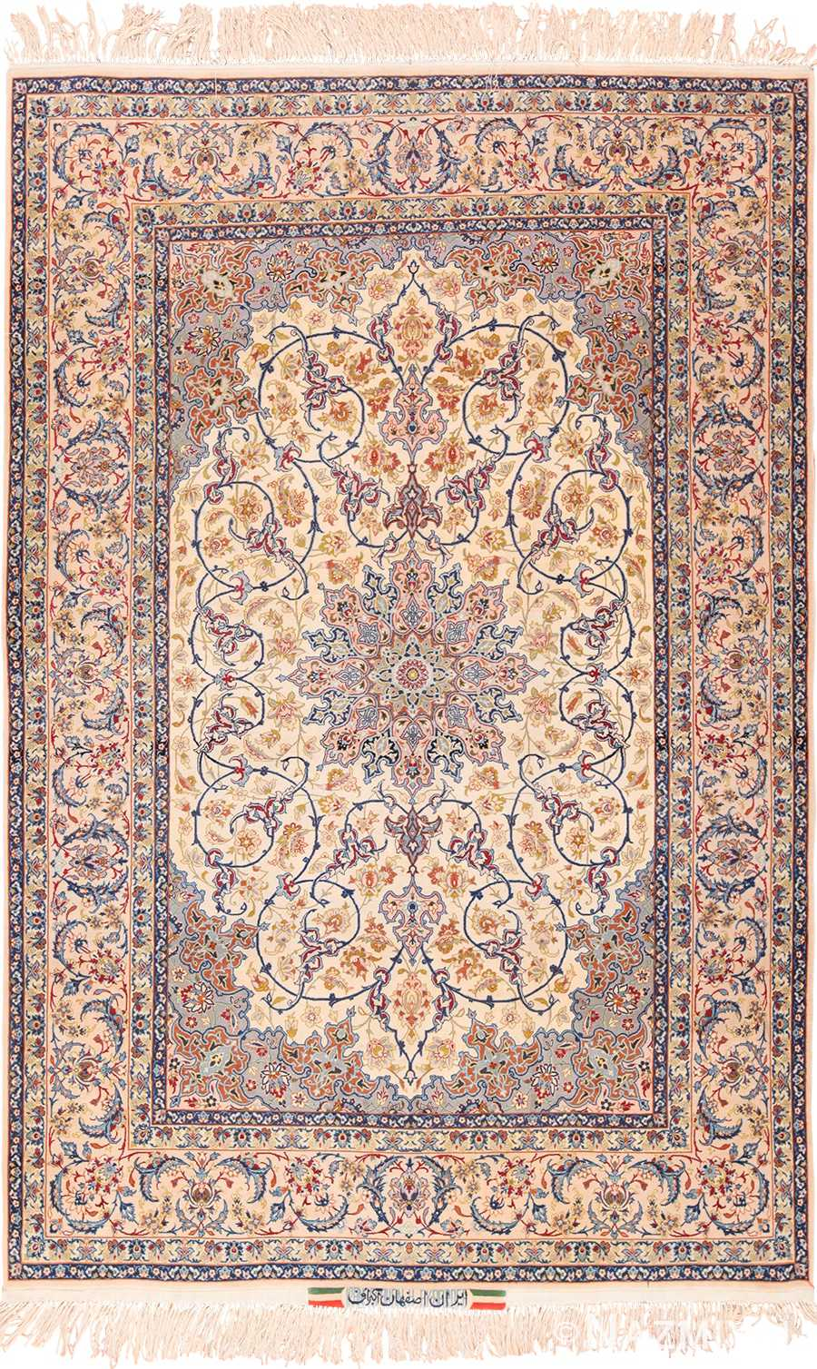 Ivory Background Vintage Persian Isfahan Rug 49599 by Nazmiyal