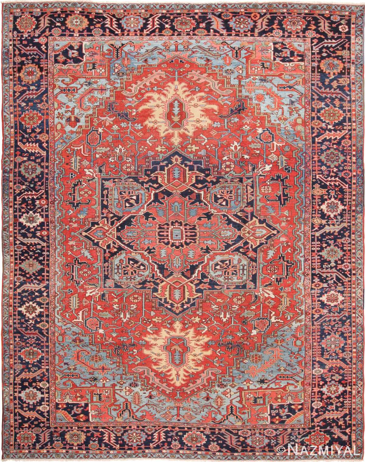 Large Antique Geometric Persian Heriz Rug 49654 by Nazmiyal