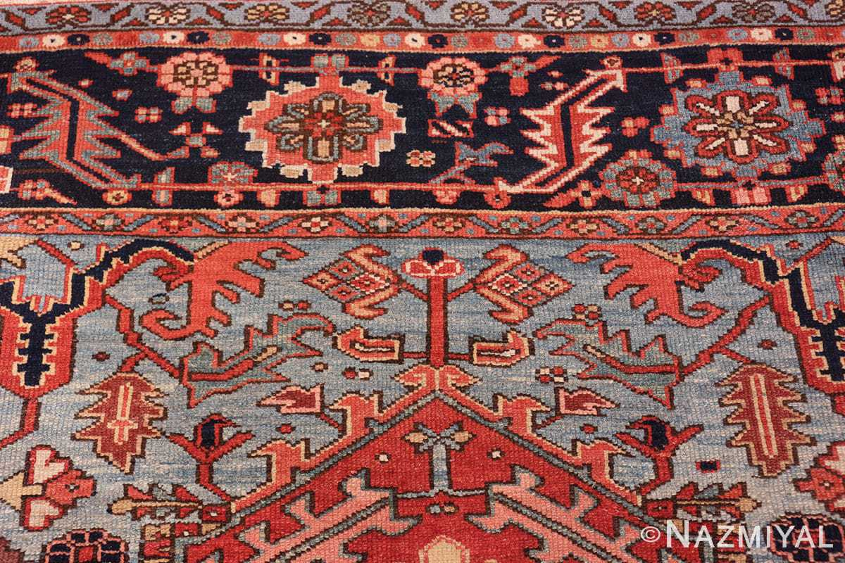 large antique geometric heriz persian rug 49654 blueNazmiyal