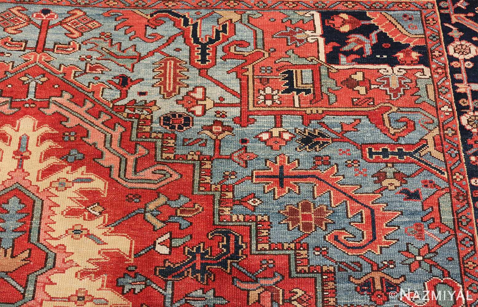 large antique geometric heriz persian rug 49654 part Nazmiyal