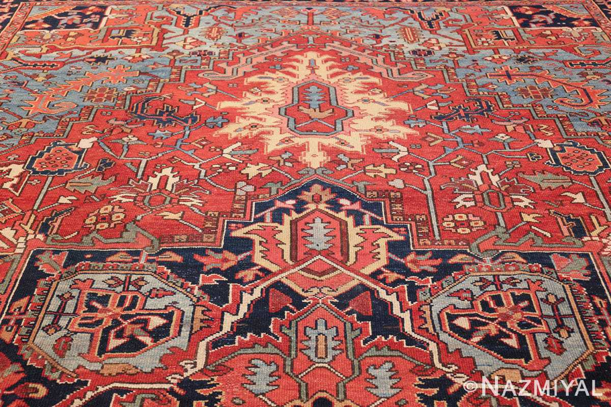 large antique geometric heriz persian rug 49654 top Nazmiyal