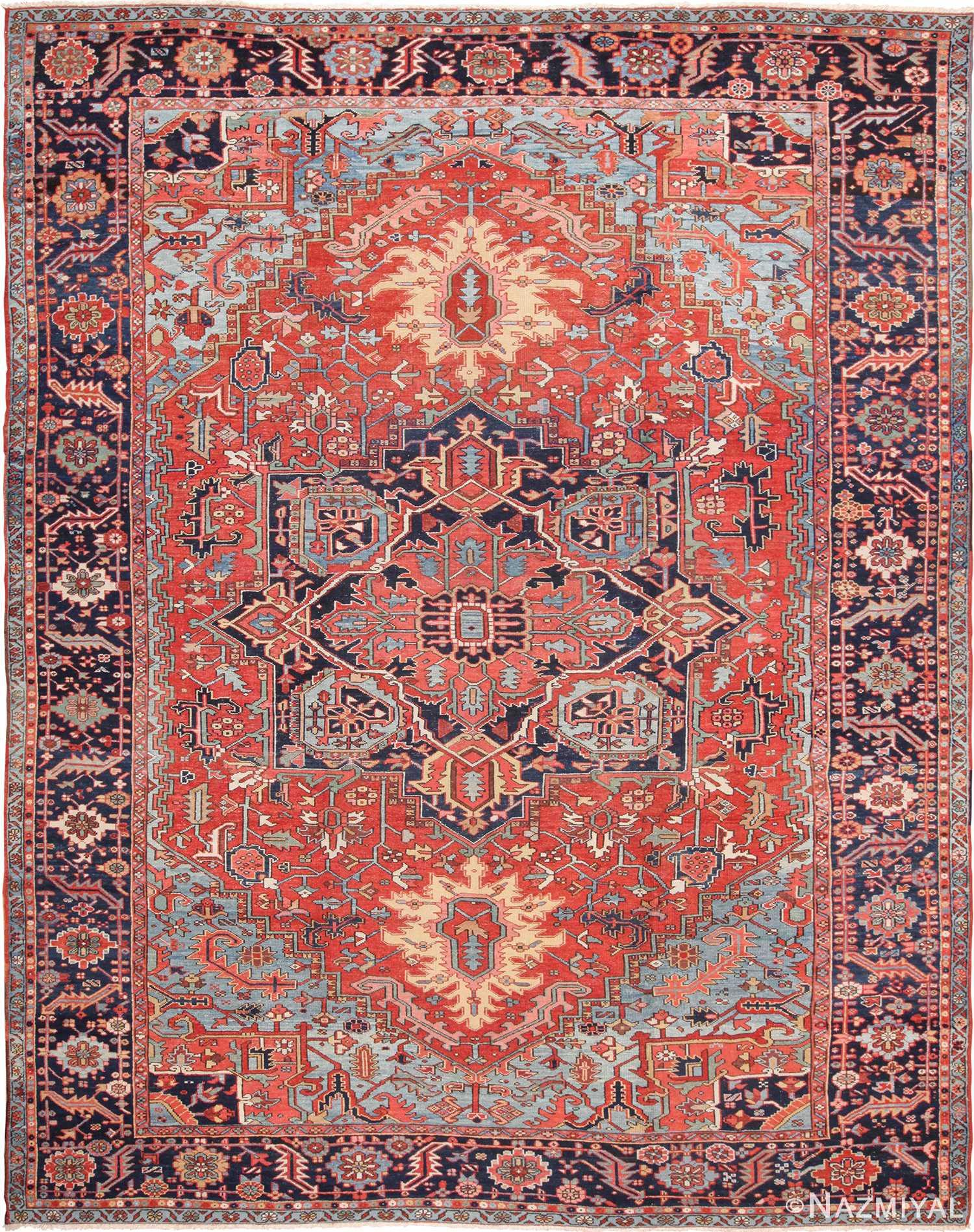 Large Antique Geometric Persian Heriz Rug 49654 by Nazmiyal