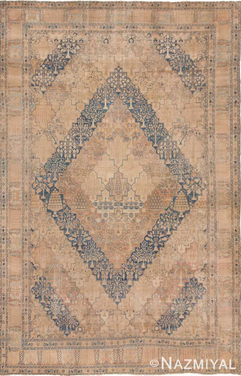 Large Diamond Garden Design Antique Persian Kerman Rug 49636 by Nazmiyal
