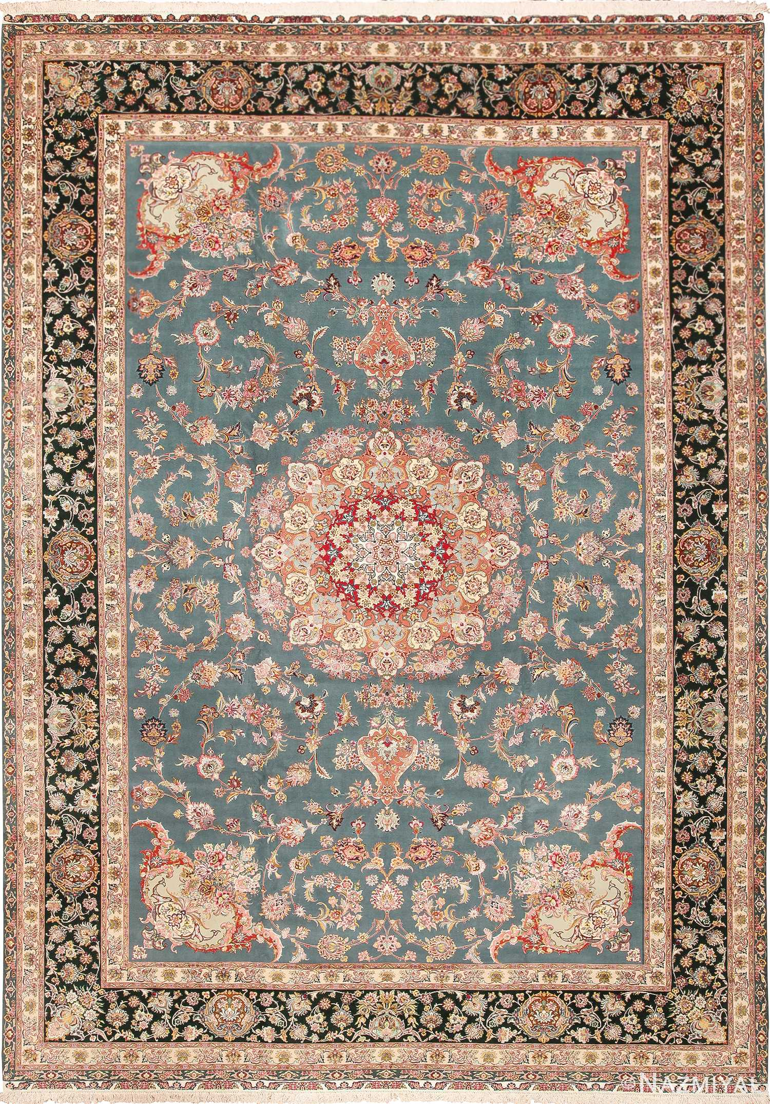 Large Fine Silk Wool Vintage Persian Tabriz Rug 60027 Nazmiyal