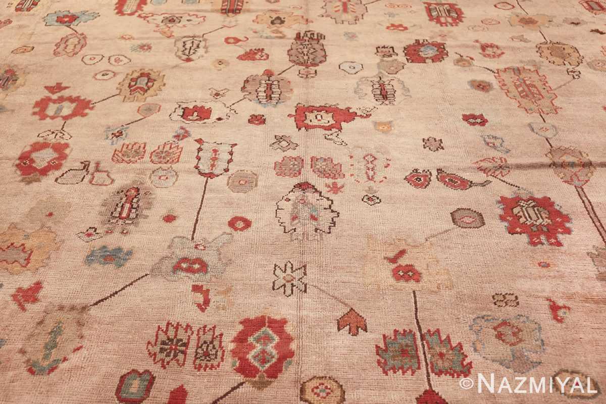 large ivory background antique oushak turkish rug 49658 blue Nazmiyal
