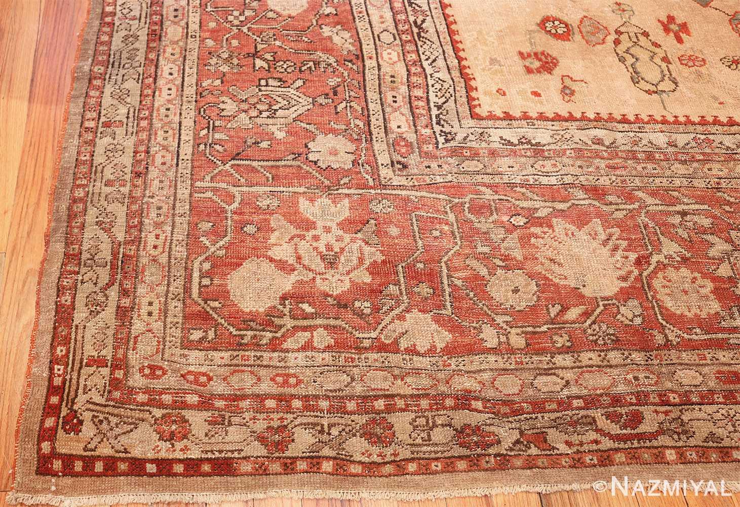 large ivory background antique oushak turkish rug 49658 corner Nazmiyal