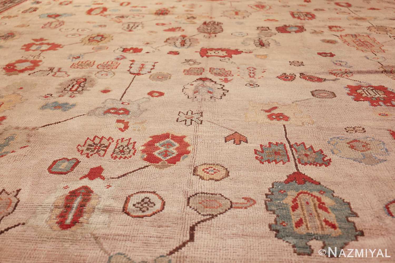 large ivory background antique oushak turkish rug 49658 field Nazmiyal