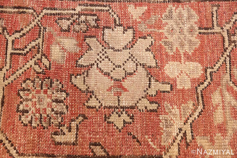 large ivory background antique oushak turkish rug 49658 flower Nazmiyal