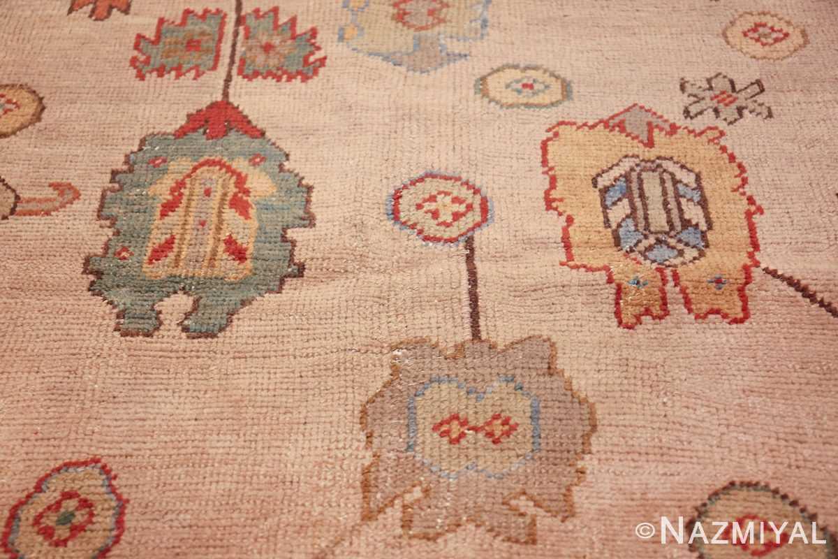 large ivory background antique oushak turkish rug 49658 green Nazmiyal