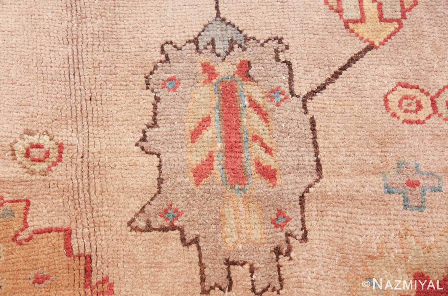 large ivory background antique oushak turkish rug 49658 one Nazmiyal