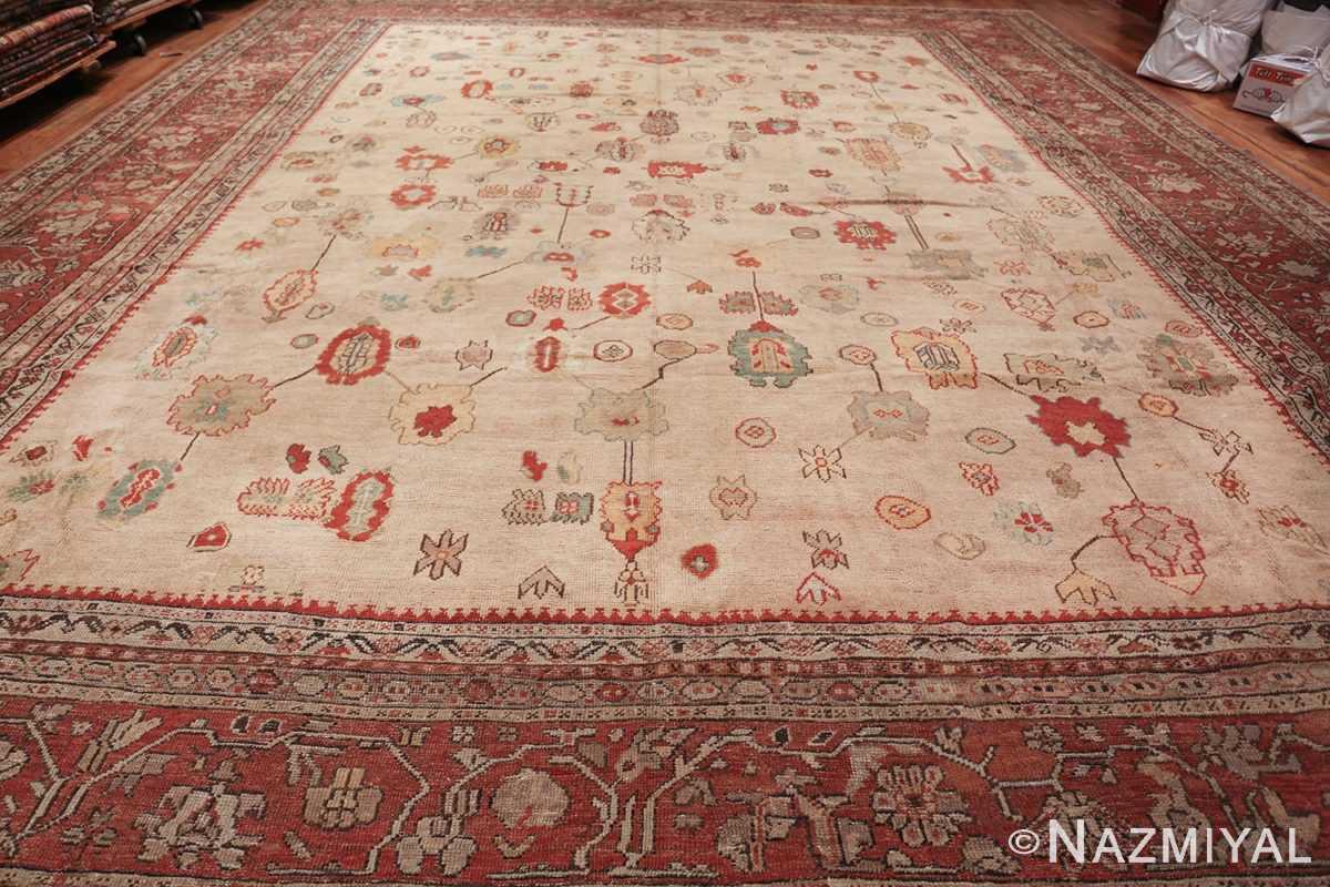 large ivory background antique oushak turkish rug 49658 whole Nazmiyal