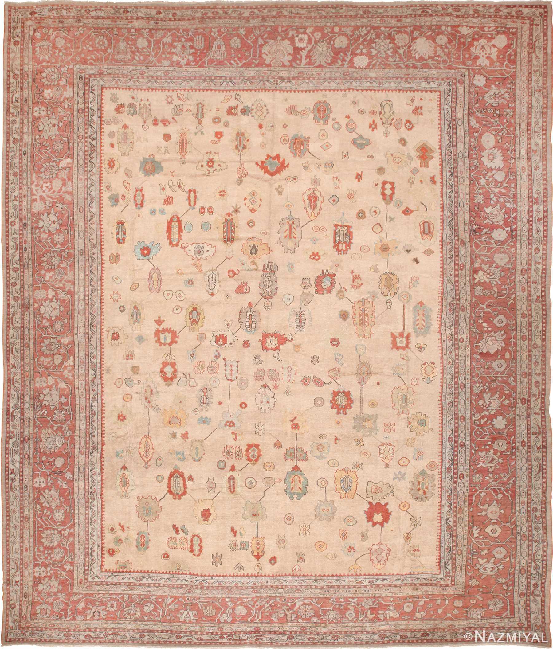 Large Ivory Background Tribal Antique Turkish Oushak Rug 49658 by Nazmiyal