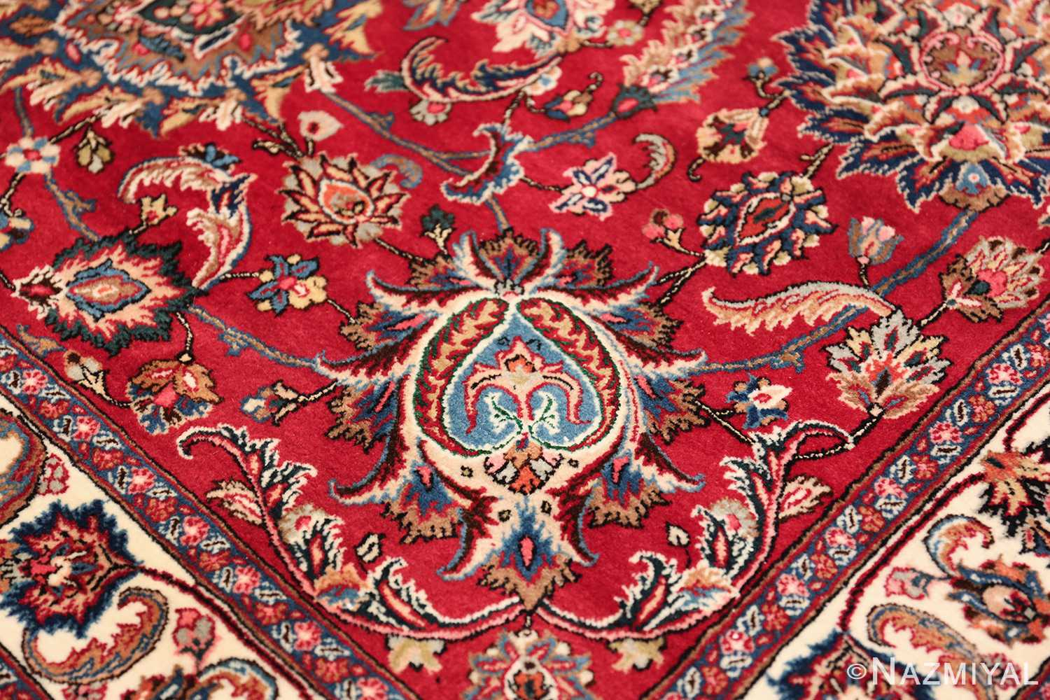 large silk and wool vintage khorassan persian rug 60036 blue Nazmiyal