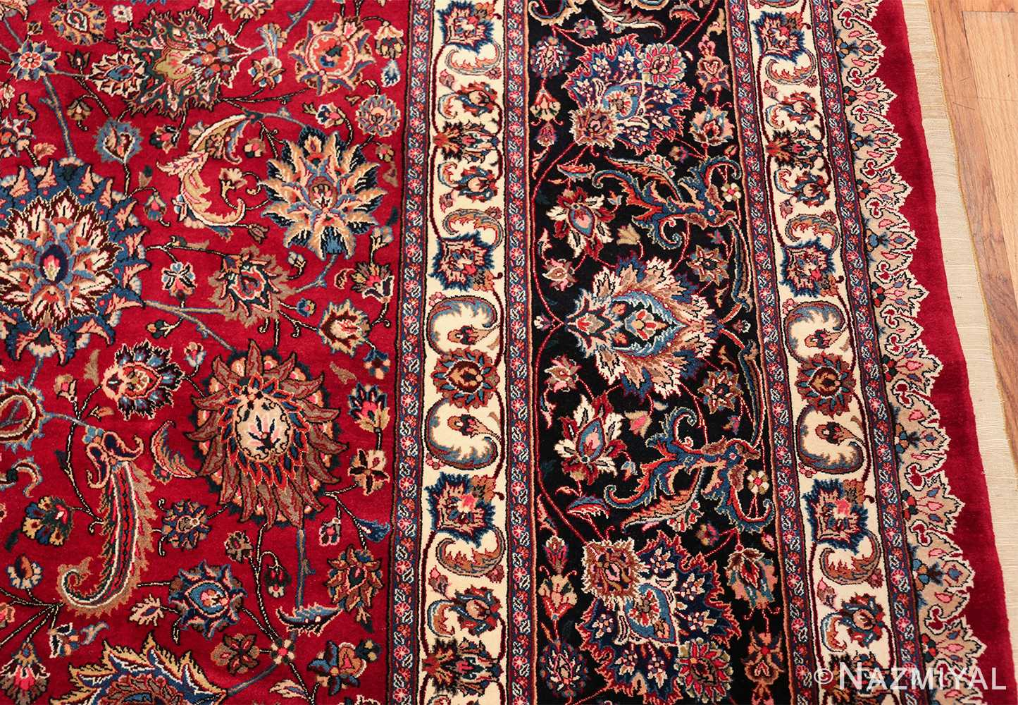 large silk and wool vintage khorassan persian rug 60036 border Nazmiyal