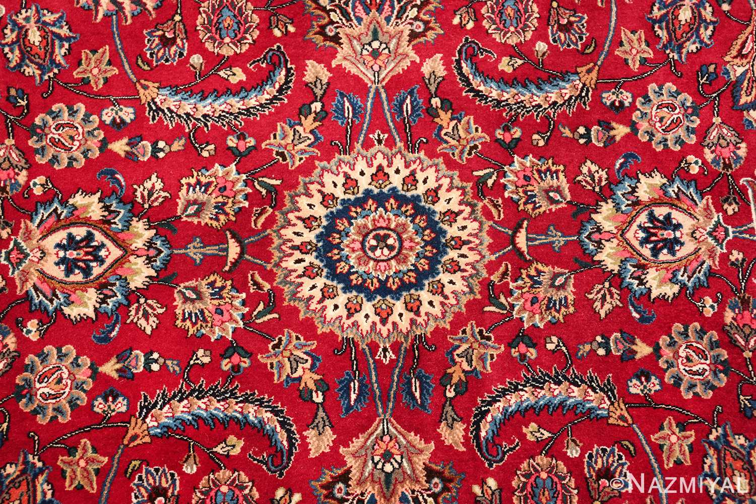 large silk and wool vintage khorassan persian rug 60036 center Nazmiyal