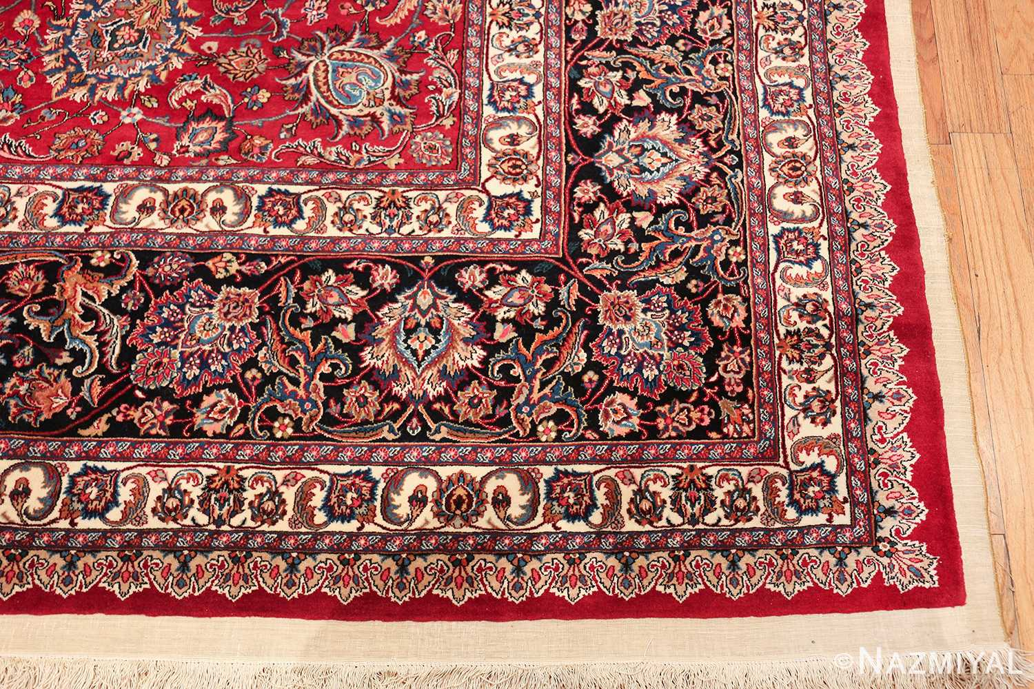 large silk and wool vintage khorassan persian rug 60036 corner Nazmiyal