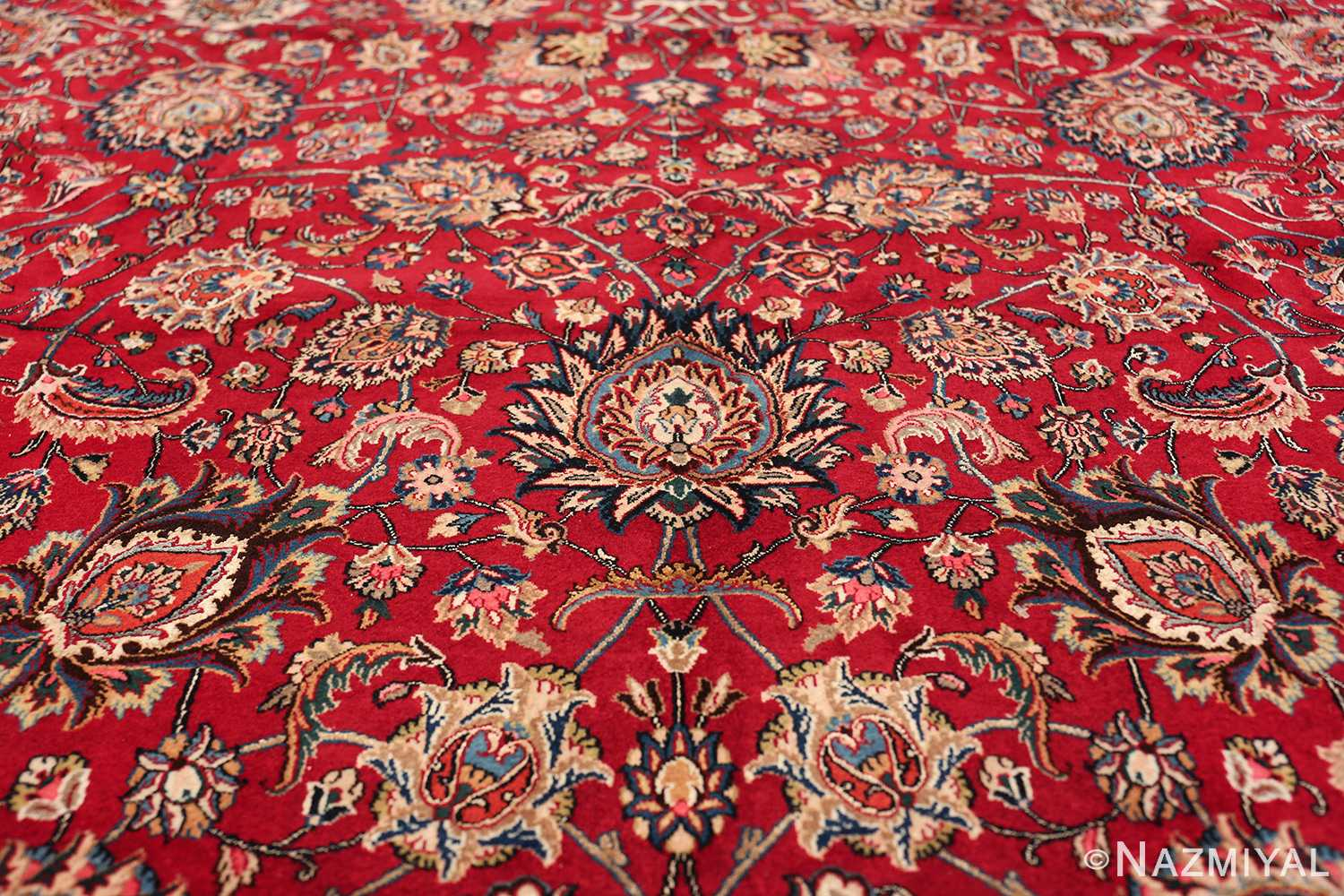 large silk and wool vintage khorassan persian rug 60036 flower Nazmiyal