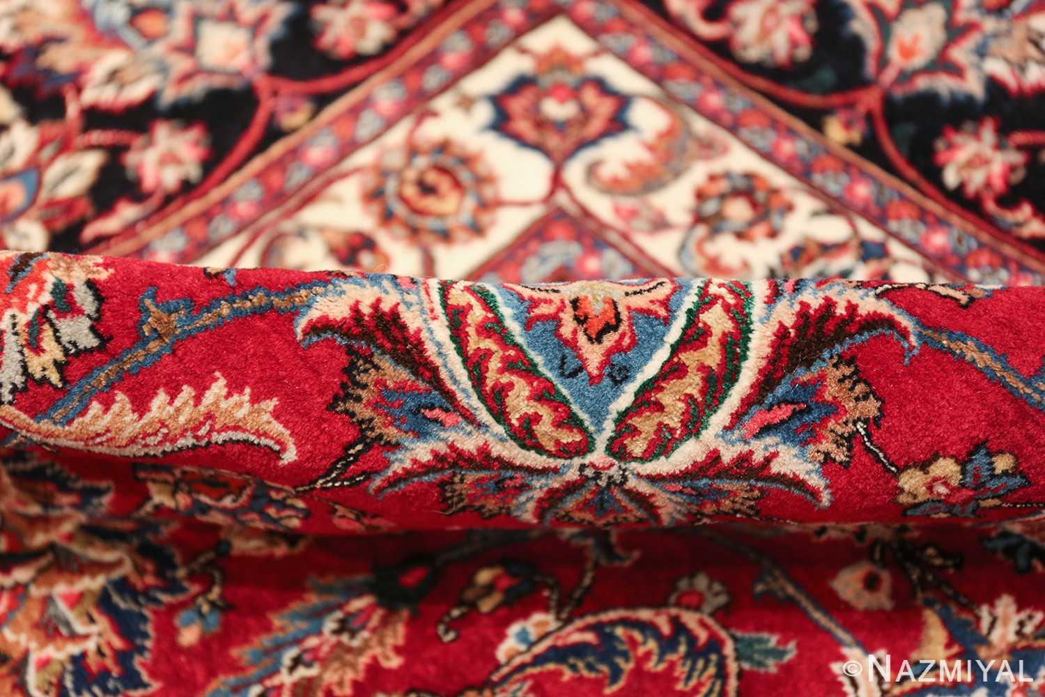 large silk and wool vintage khorassan persian rug 60036 pile Nazmiyal