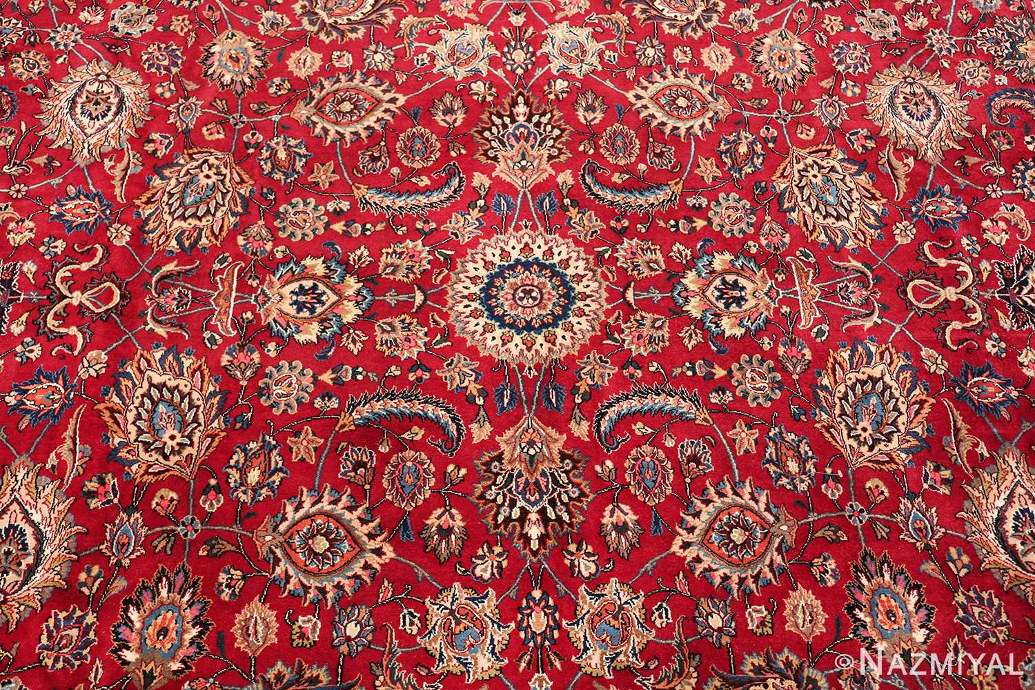 large silk and wool vintage khorassan persian rug 60036 round Nazmiyal