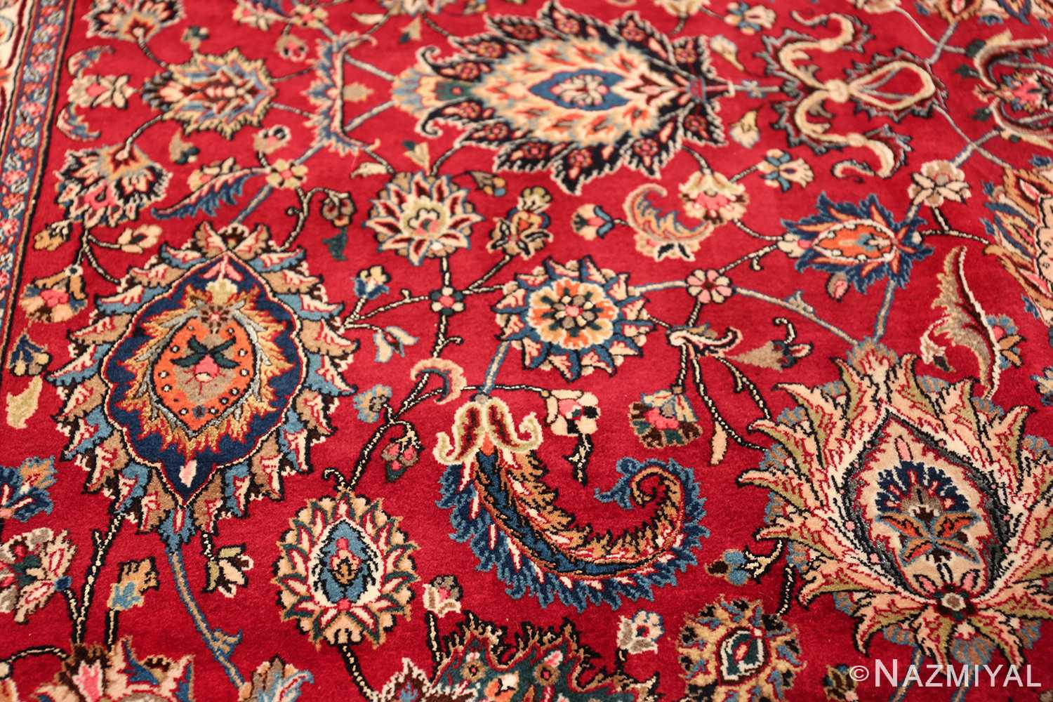 large silk and wool vintage khorassan persian rug 60036 side Nazmiyal