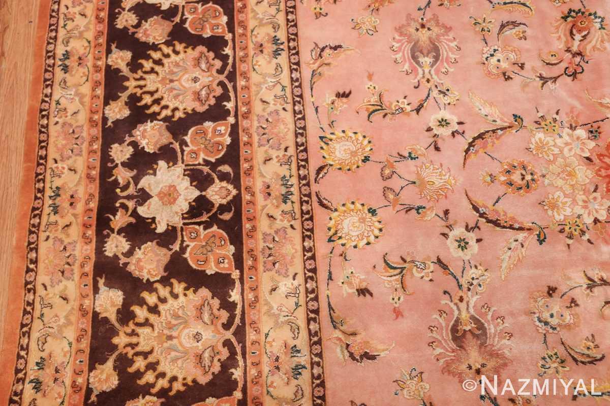 large silk and wool vintage tabriz persian rug 60014 border Nazmiyal