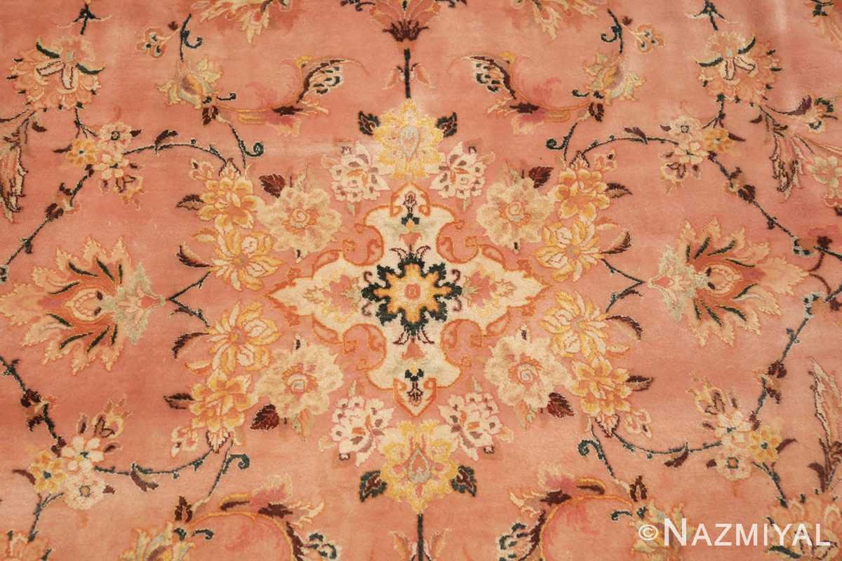large silk and wool vintage tabriz persian rug 60014 center Nazmiyal