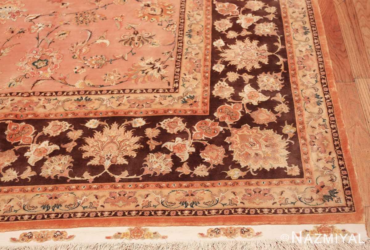 large silk and wool vintage tabriz persian rug 60014 corner Nazmiyal