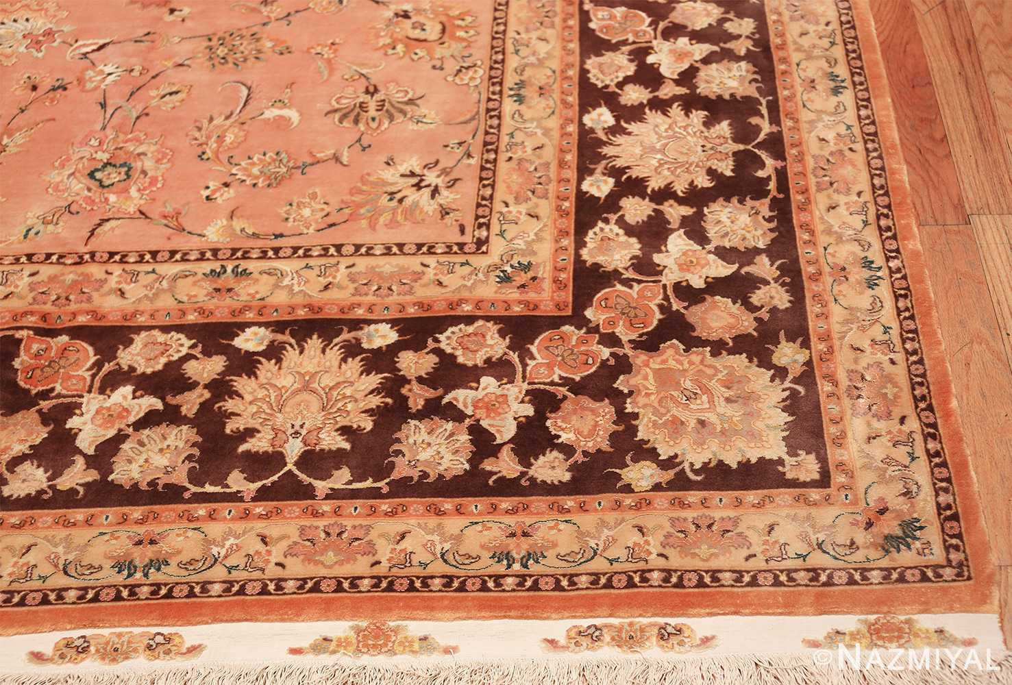 large silk and wool vintage tabriz persian rug 60014 corner Nazmiyal